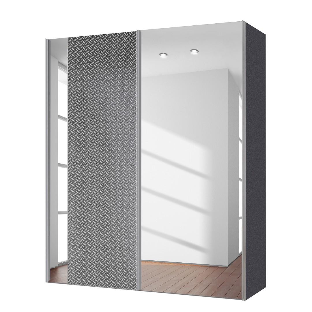 goedkoop Zweefdeurkast Cando Grijs Spiegelglas 150cm 2 deurs Express Mobel