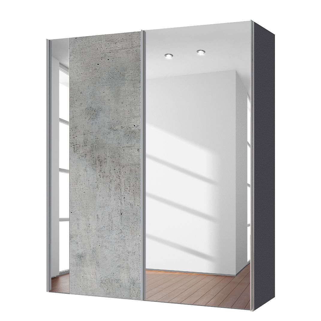goedkoop Zweefdeurkast Cando Concrete look Spiegelglas 150cm 2 deurs Express Mobel