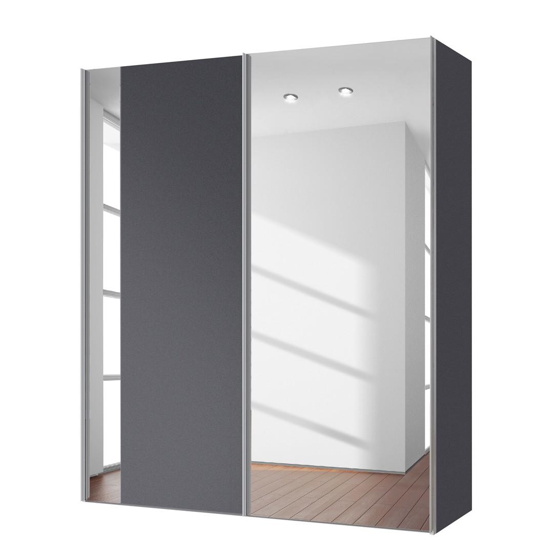 goedkoop Zweefdeurkast Cando Grafiet Spiegelglas 150cm 2 deurs Express Mobel