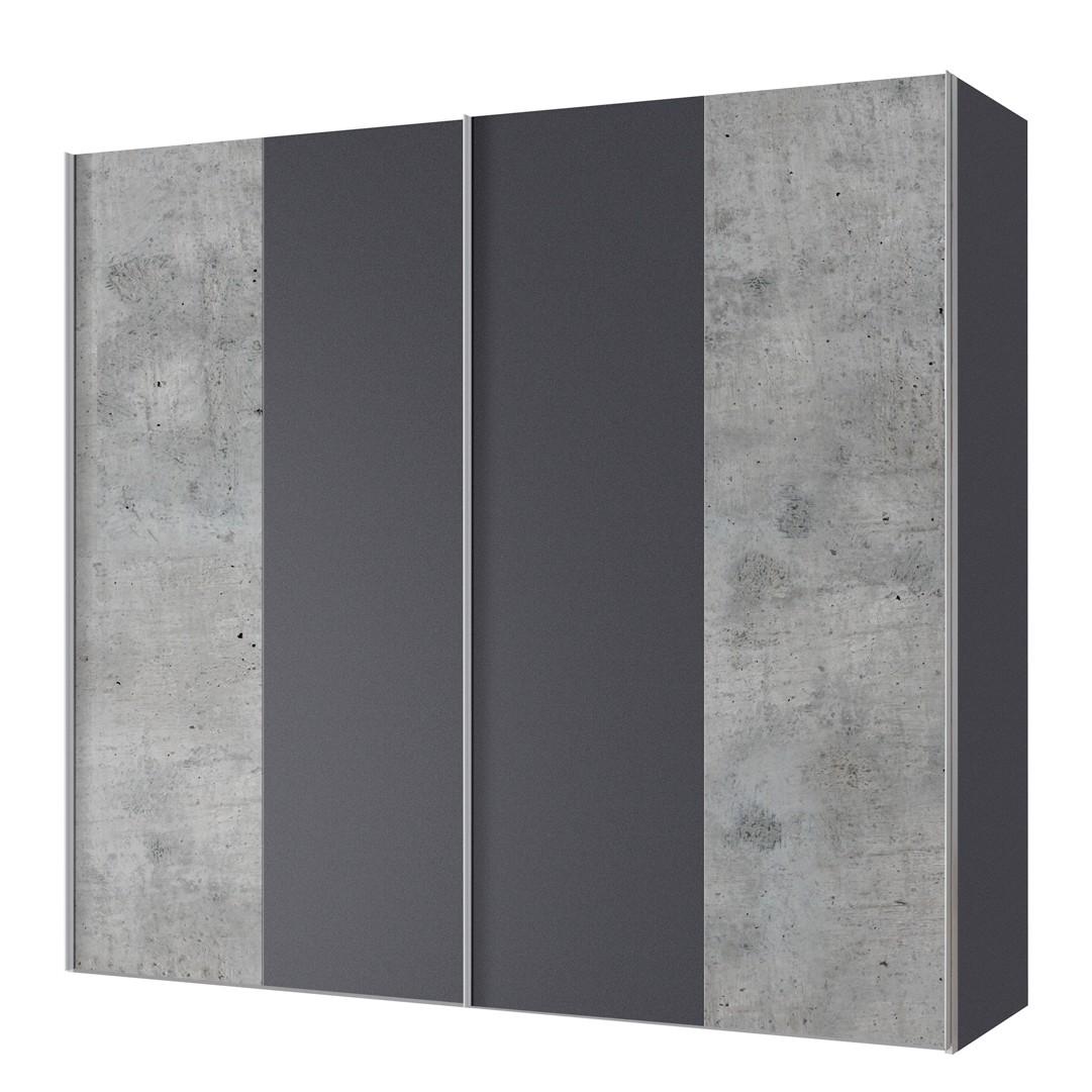 aa1709 Zweefdeurkast Cando Concrete look Grafiet 200cm 2 deurs Express Mobel