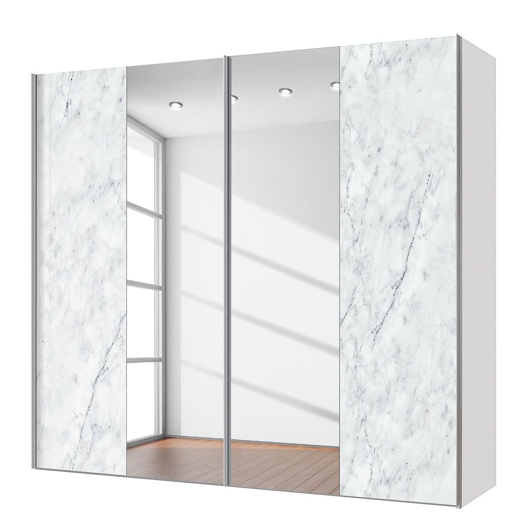 goedkoop Zweefdeurkast Cando Marmer look Spiegelglas 200cm 2 deurs Express Mobel