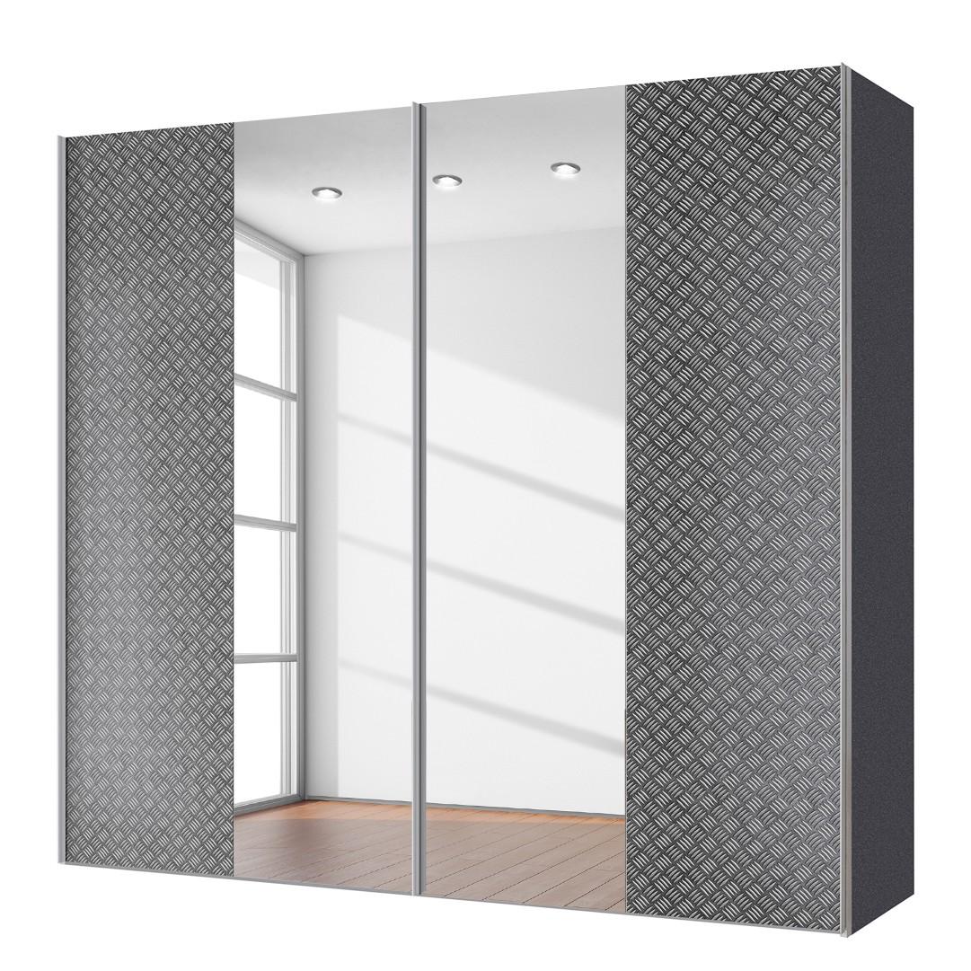 goedkoop Zweefdeurkast Cando Grijs Spiegelglas 200cm 2 deurs Express Mobel