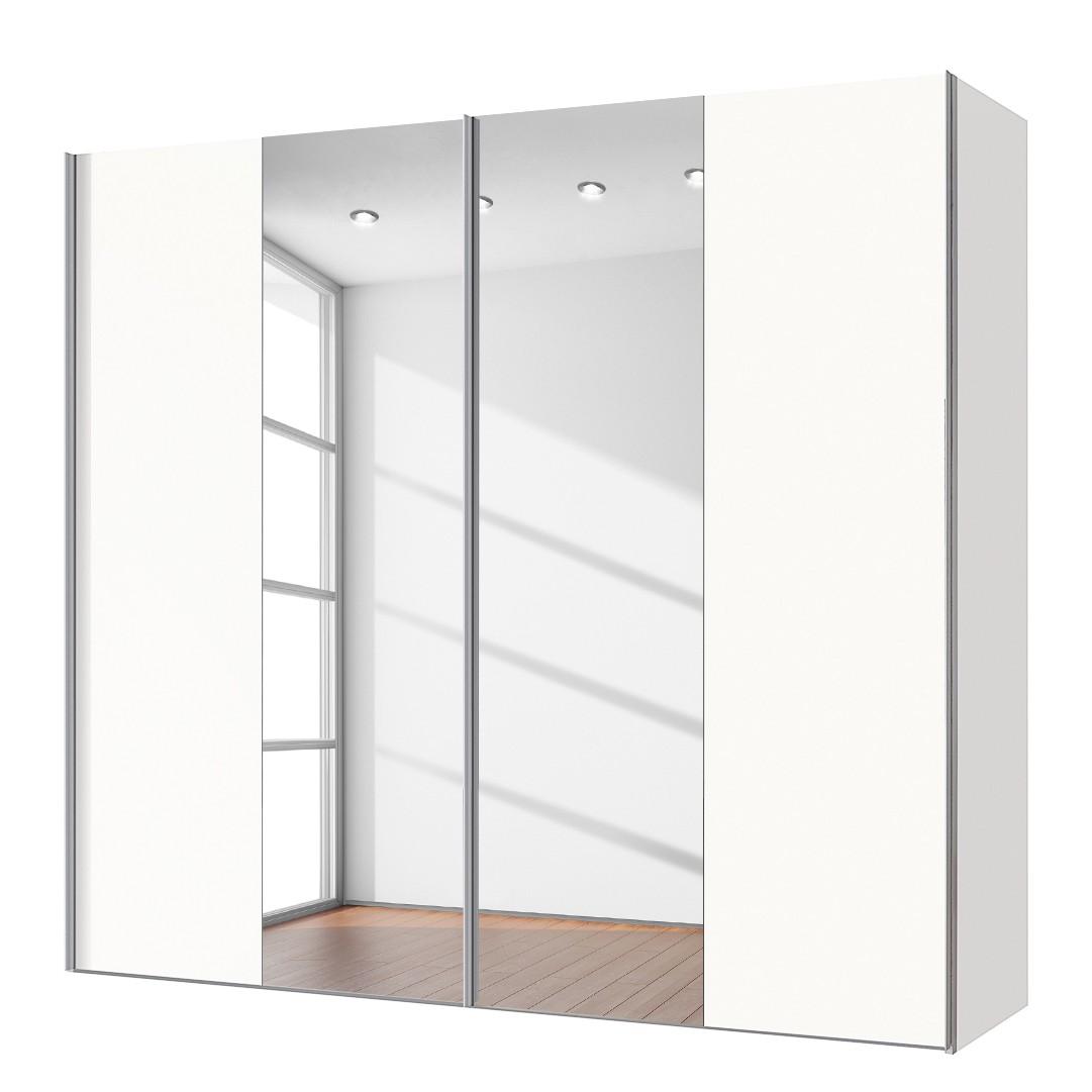 goedkoop Zweefdeurkast Cando Poolwit Spiegelglas 200cm 2 deurs Express Mobel