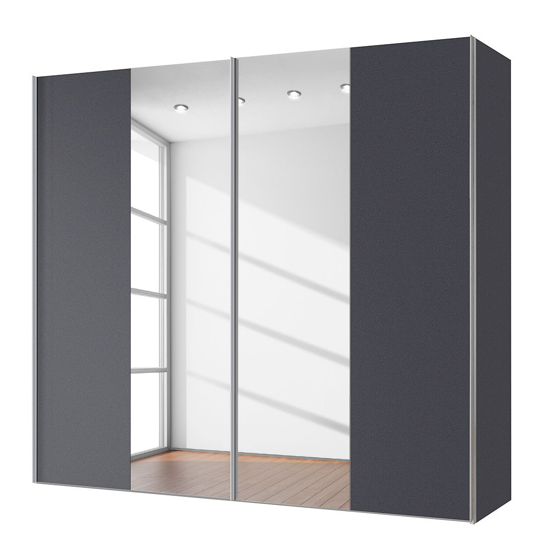 goedkoop Zweefdeurkast Cando Grafiet Spiegelglas 200cm 2 deurs Express Mobel