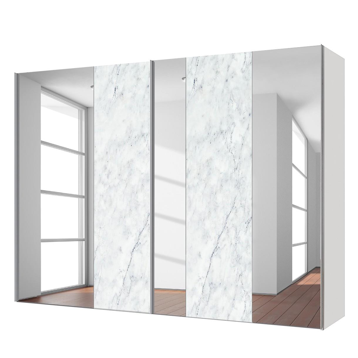 goedkoop Zweefdeurkast Cando Marmer look Spiegelglas 250cm 2 deurs Express Mobel