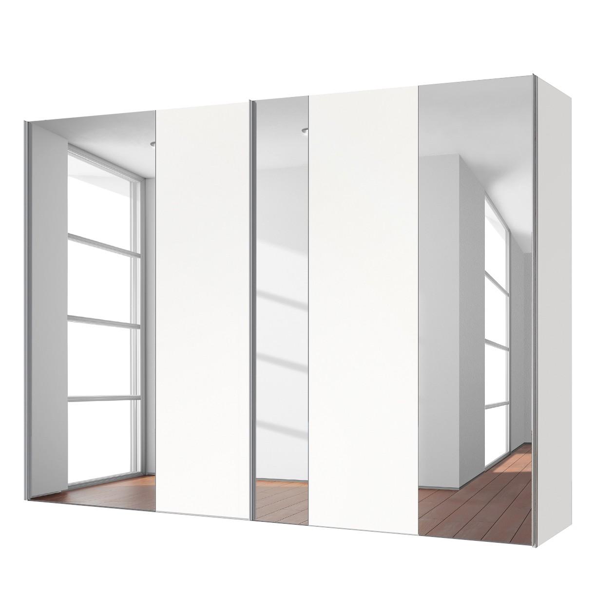 goedkoop Zweefdeurkast Cando Poolwit Spiegelglas 250cm 2 deurs Express Mobel