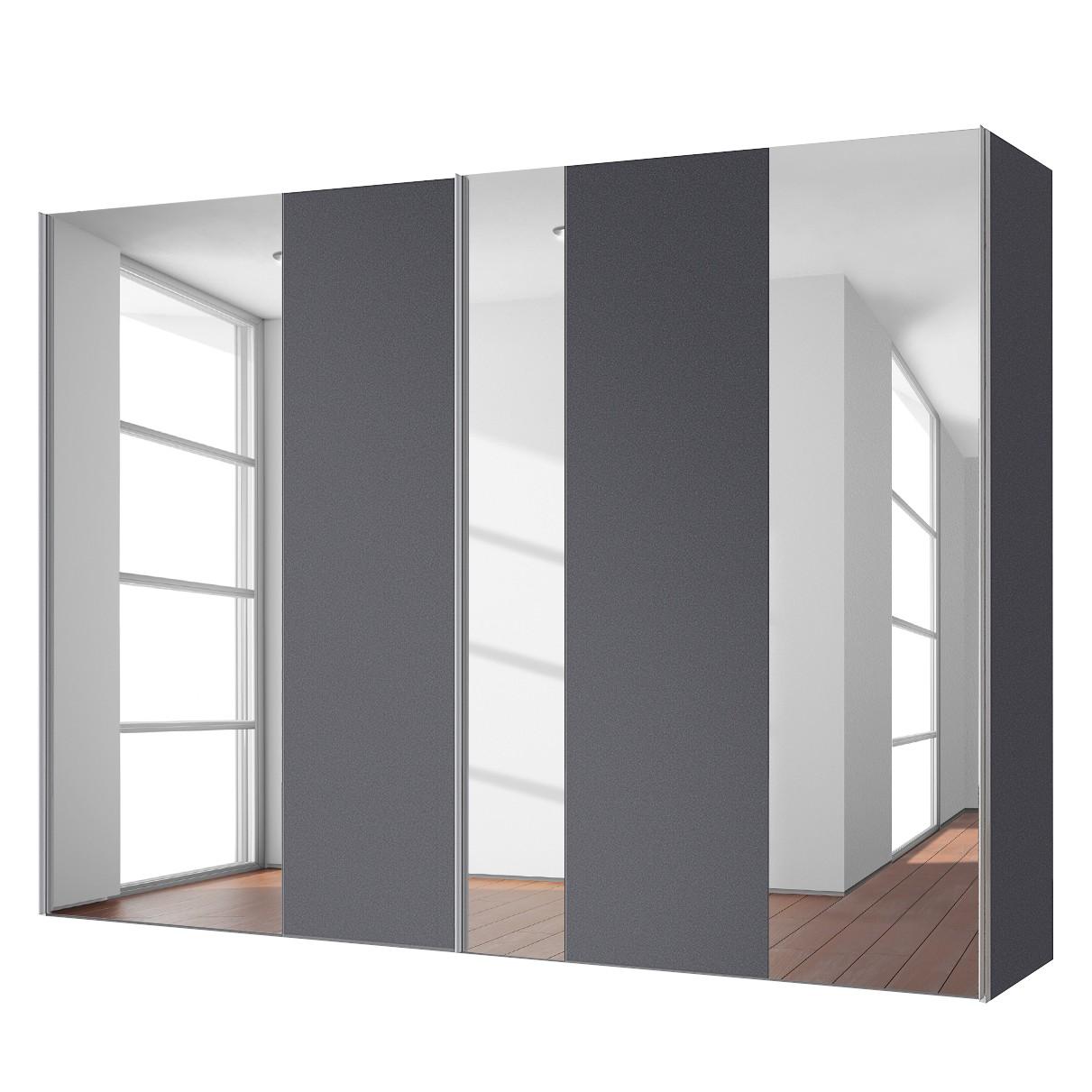 goedkoop Zweefdeurkast Cando Grafiet Spiegelglas 250cm 2 deurs Express Mobel