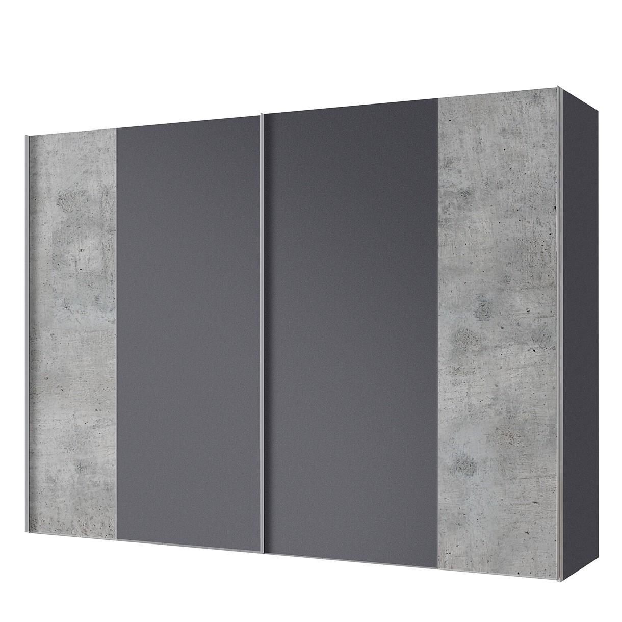 goedkoop Zweefdeurkast Cando Concrete look Grafiet 300cm 2 deurs Express Mobel