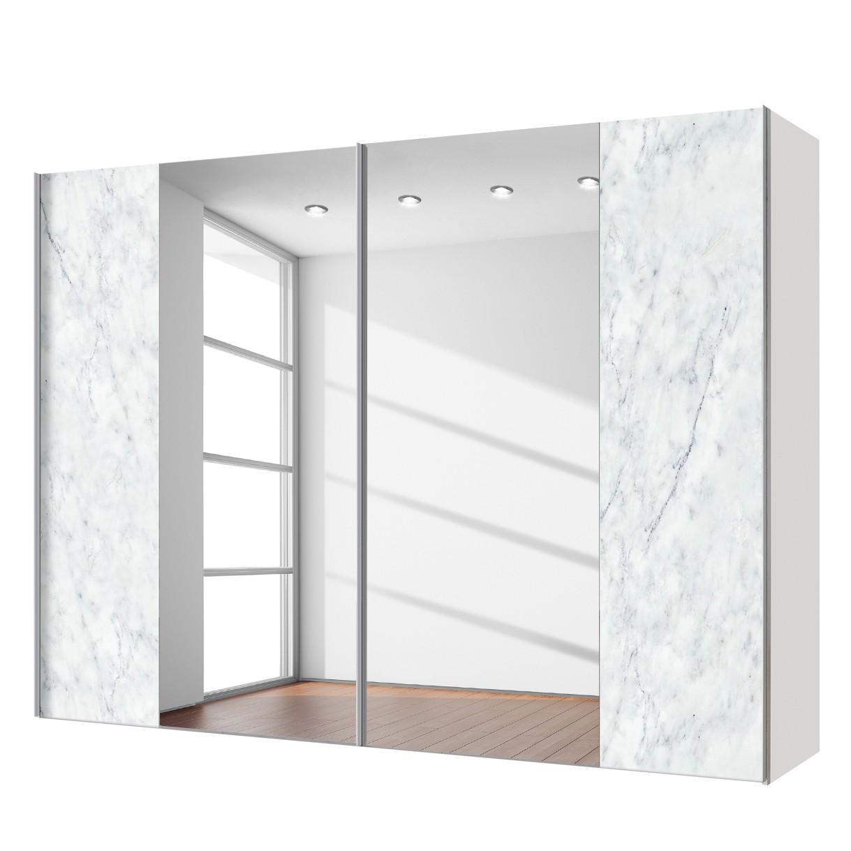 goedkoop Zweefdeurkast Cando Marmer look Spiegelglas 300cm 2 deurs Express Mobel