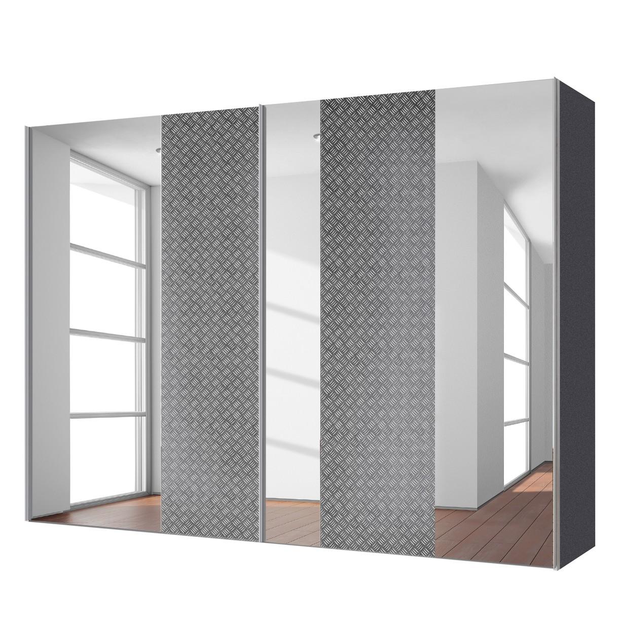 aa1691 Zweefdeurkast Cando Grijs Spiegelglas 300cm 2 deurs Express Mobel