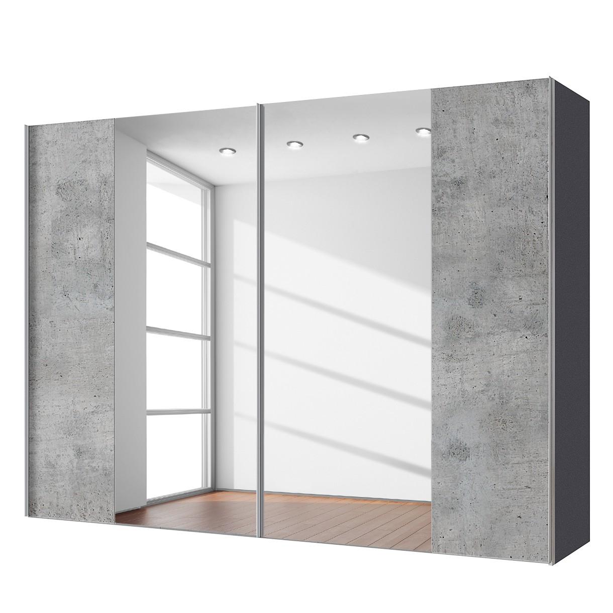 goedkoop Zweefdeurkast Cando Concrete look Spiegelglas 300cm 2 deurs Express Mobel