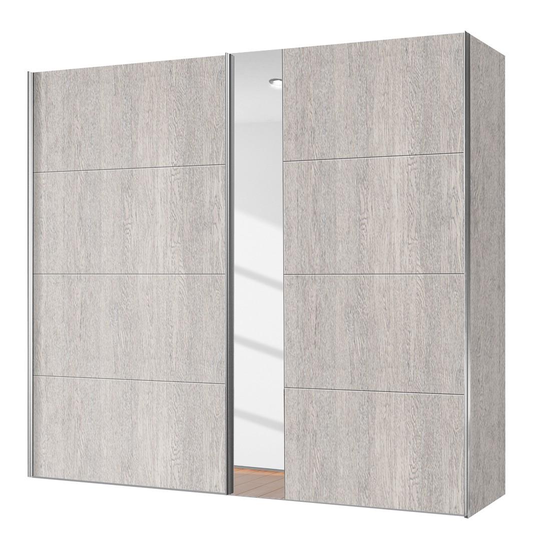 goedkoop Schuifdeurkast Willows Platin eikenhouten look Spiegelglas 200cm 2 deurs Express Mobel