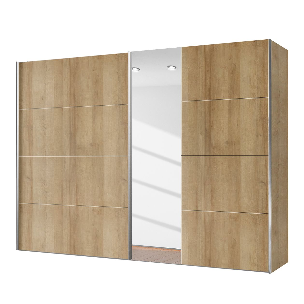 goedkoop Schuifdeurkast Willows Riviera eikenhouten look Spiegelglas 250cm 2 deurs Express Mobel