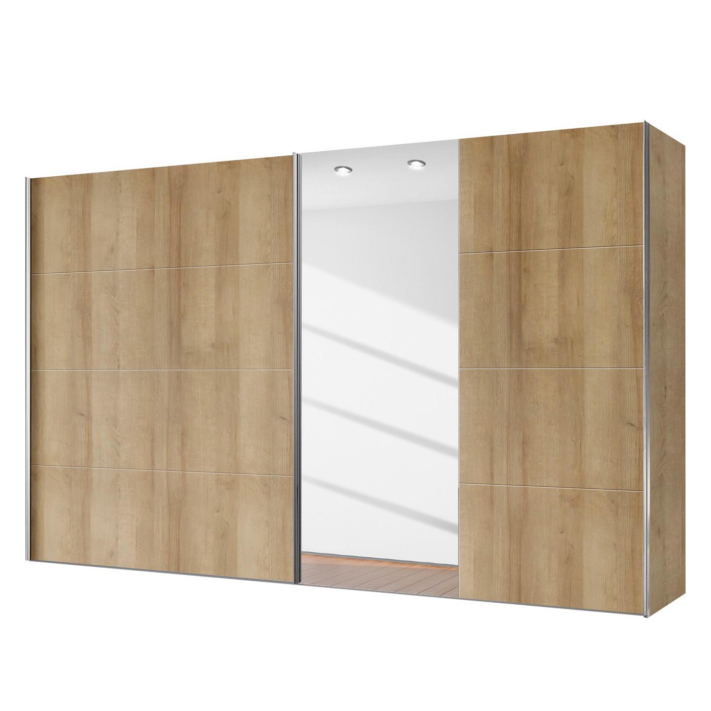 Armoire à portes coulissantes Willows - Imitation chêne de Riviera / Verre de miroir - 300 cm (2 portes), Express Möbel