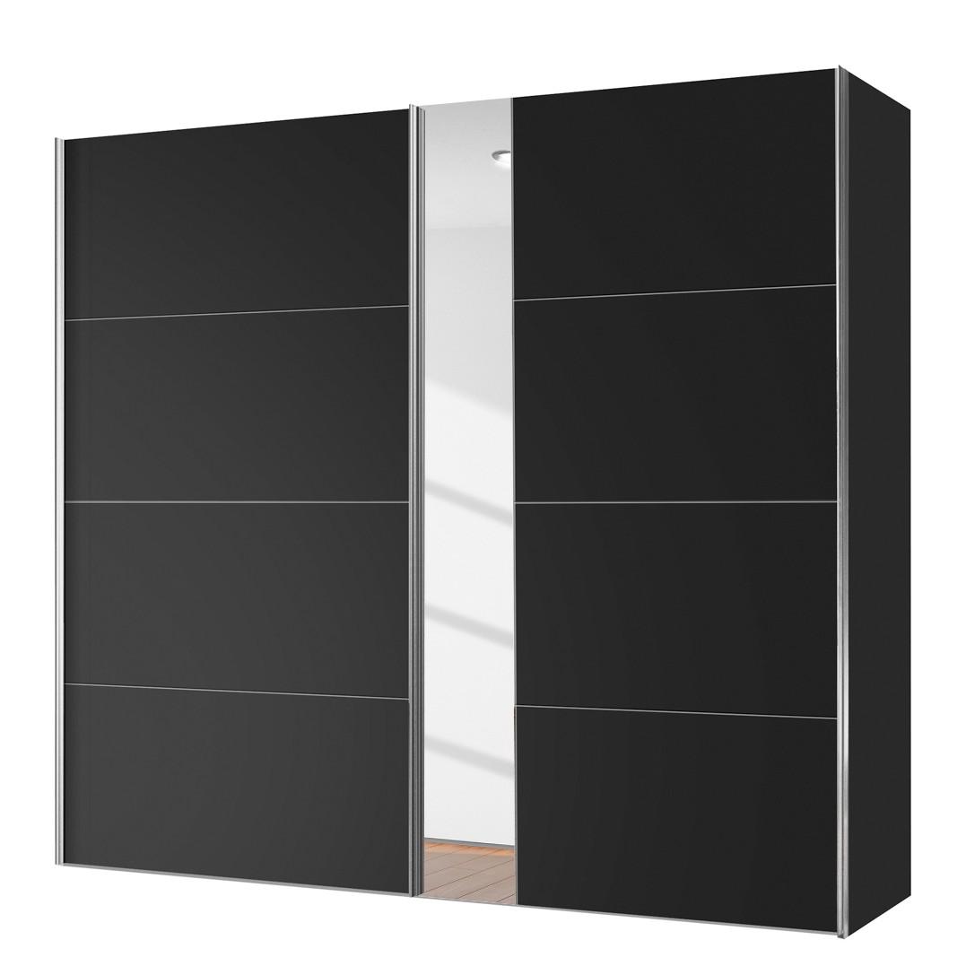 goedkoop Schuifdeurkast Willows Zwart spiegelglas 200cm 2 deurs Express Mobel
