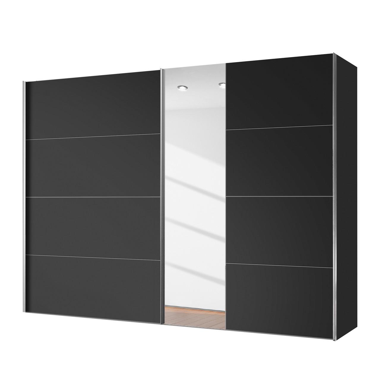 Armoire à portes coulissantes Willows - Noir / Verre de miroir - 250 cm (2 portes), Express Möbel