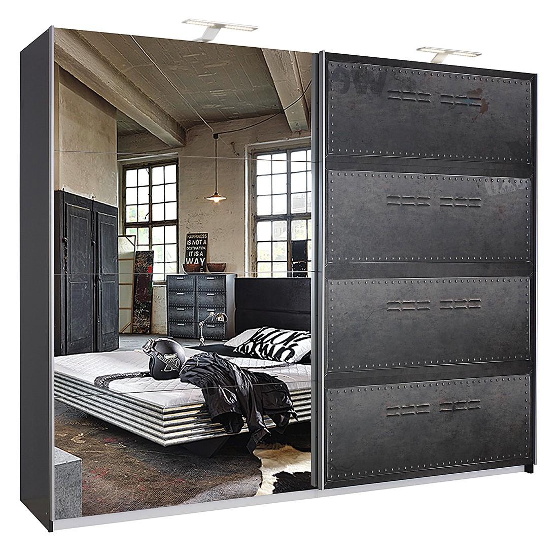 goedkoop Draaideurkast Workbase industrial print look grafietkleurig Met verlichting 270cm 2 deurs Rauch Select