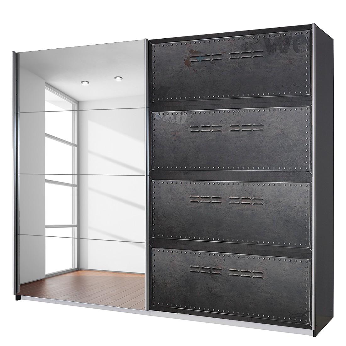goedkoop Draaideurkast Workbase industrial print look grafietkleurig Zonder verlichting 225cm 2 deurs Rauch Select