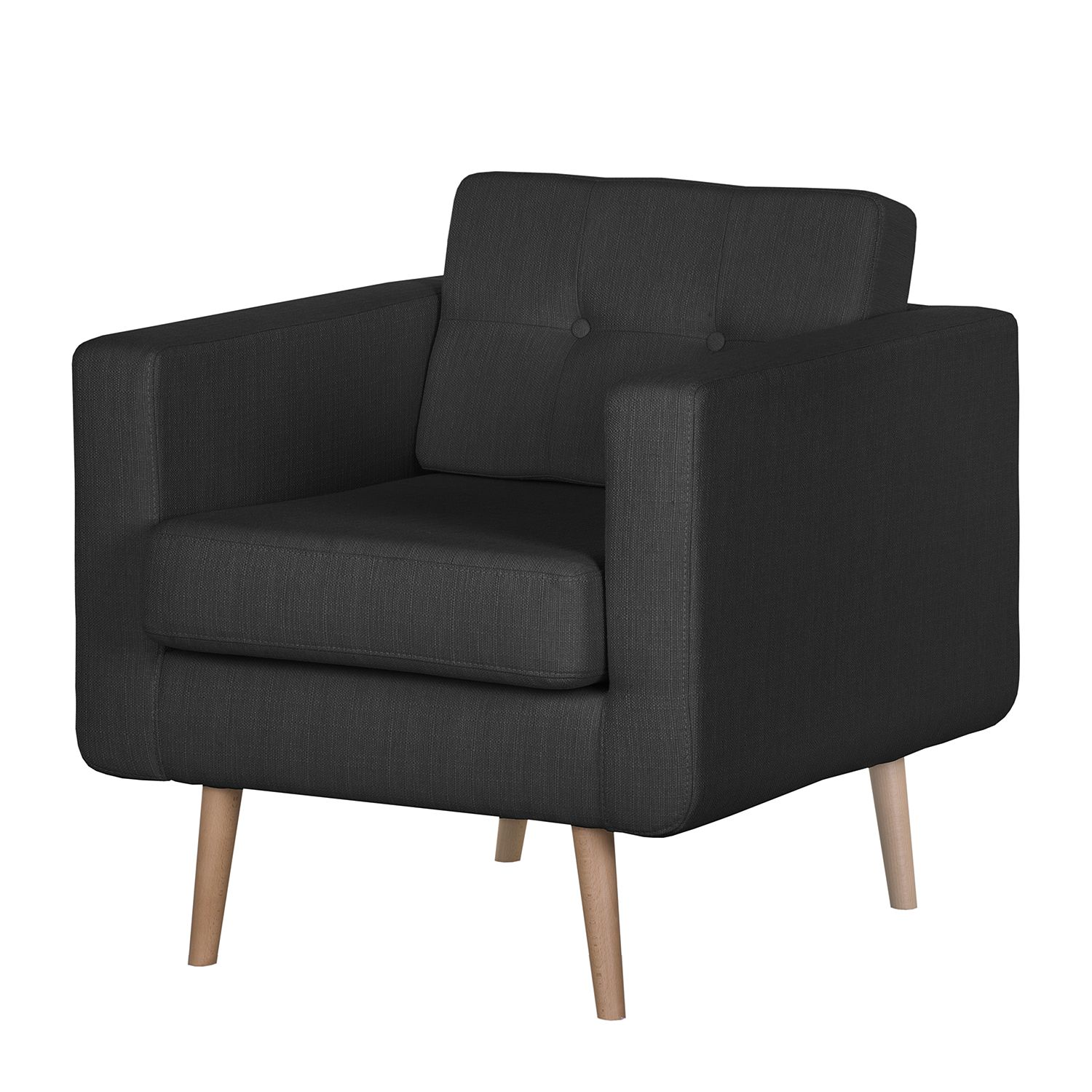 goedkoop Fauteuil Croom V geweven stof Zonder hocker Antraciet Morteens