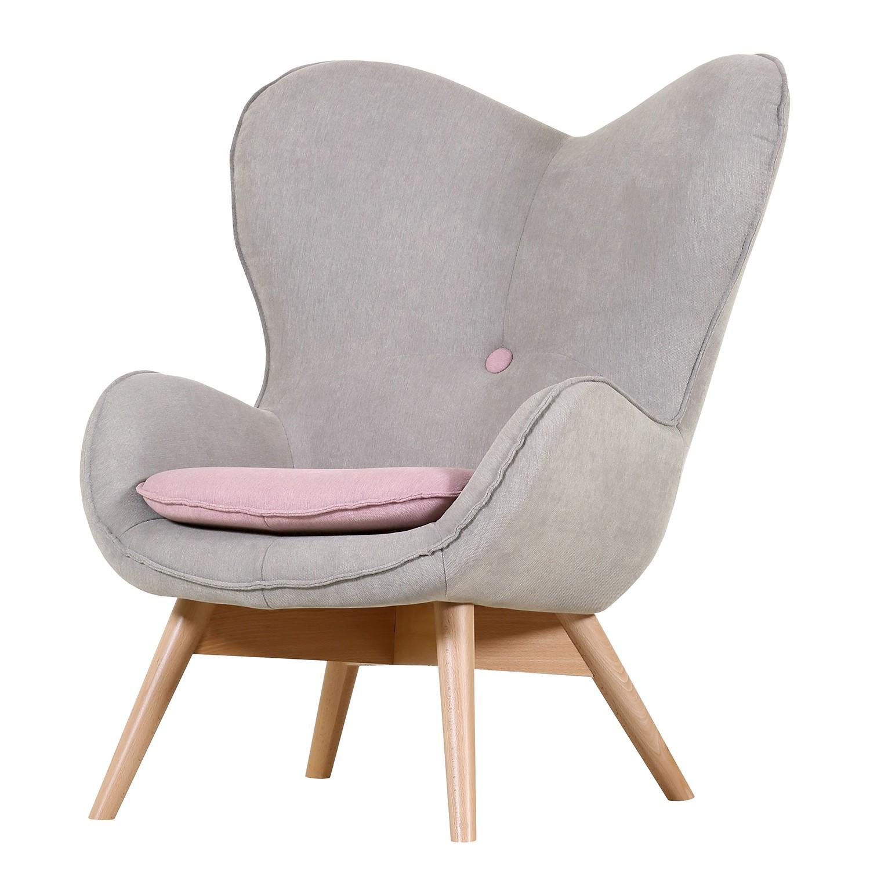 goedkoop Fauteuil Ameson geweven stof grijs roze Morteens