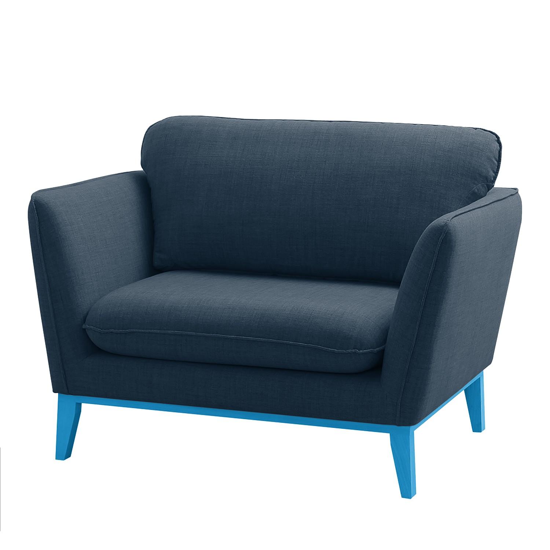 goedkoop Fauteuil Argoon geweven stof blauwe poten Donkerblauw Morteens