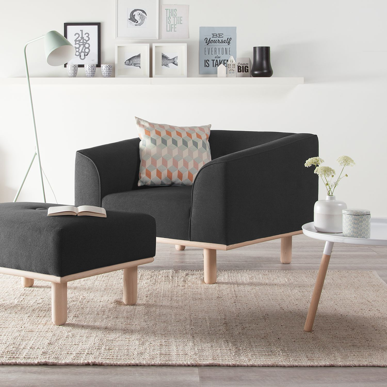 home24 Mørteens Sessel Aya Anthrazit Webstoff 100x72x90 cm (BxHxT)