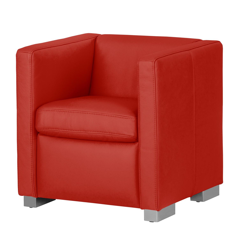 Fauteuil Bolsena I - Cuir véritable - Rouge - Sans repose-pieds, Nuovoform