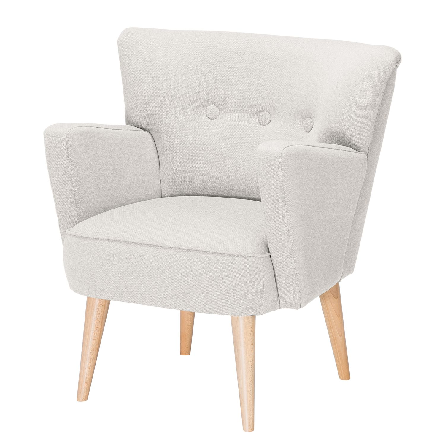 Fauteuil Bumberry - Tissu - Blanc, Morteens