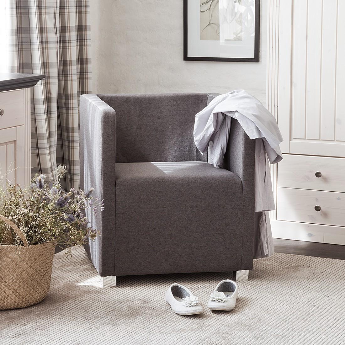 home24 mooved Sessel Carmen Grau Webstoff 63x71x64 cm (BxHxT)