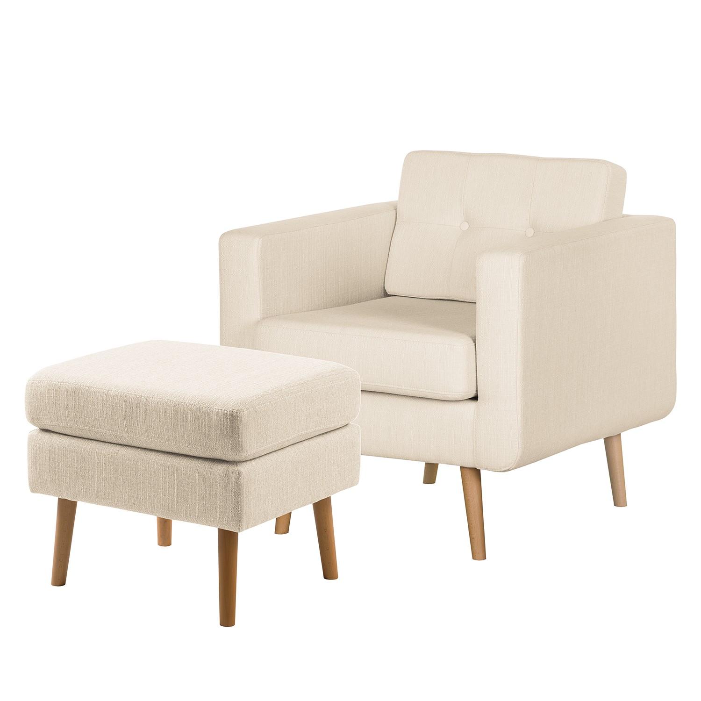 home24 Mørteens Sessel Croom V Creme Webstoff mit Hocker 77x84x81 cm (BxHxT)