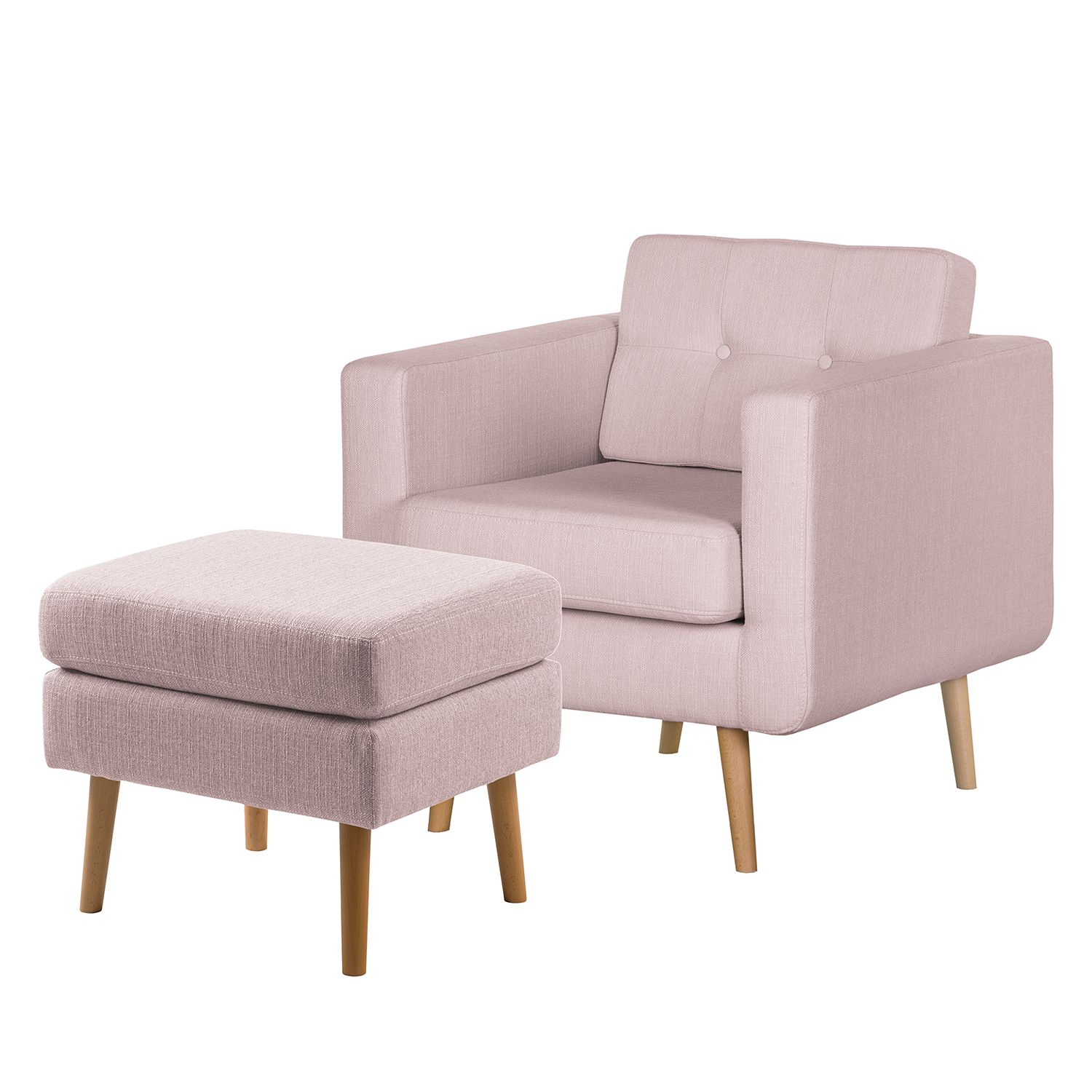 goedkoop Fauteuil Croom V geweven stof Hocker Mauve Morteens