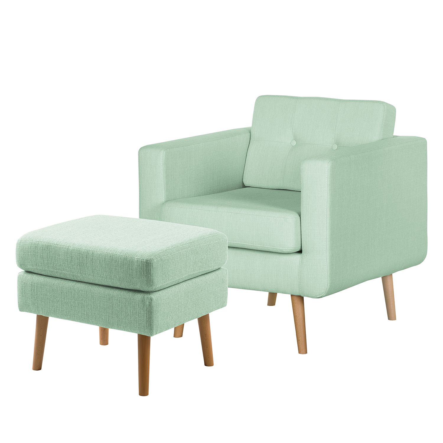 goedkoop Fauteuil Croom V geweven stof Hocker Mintgroen Morteens