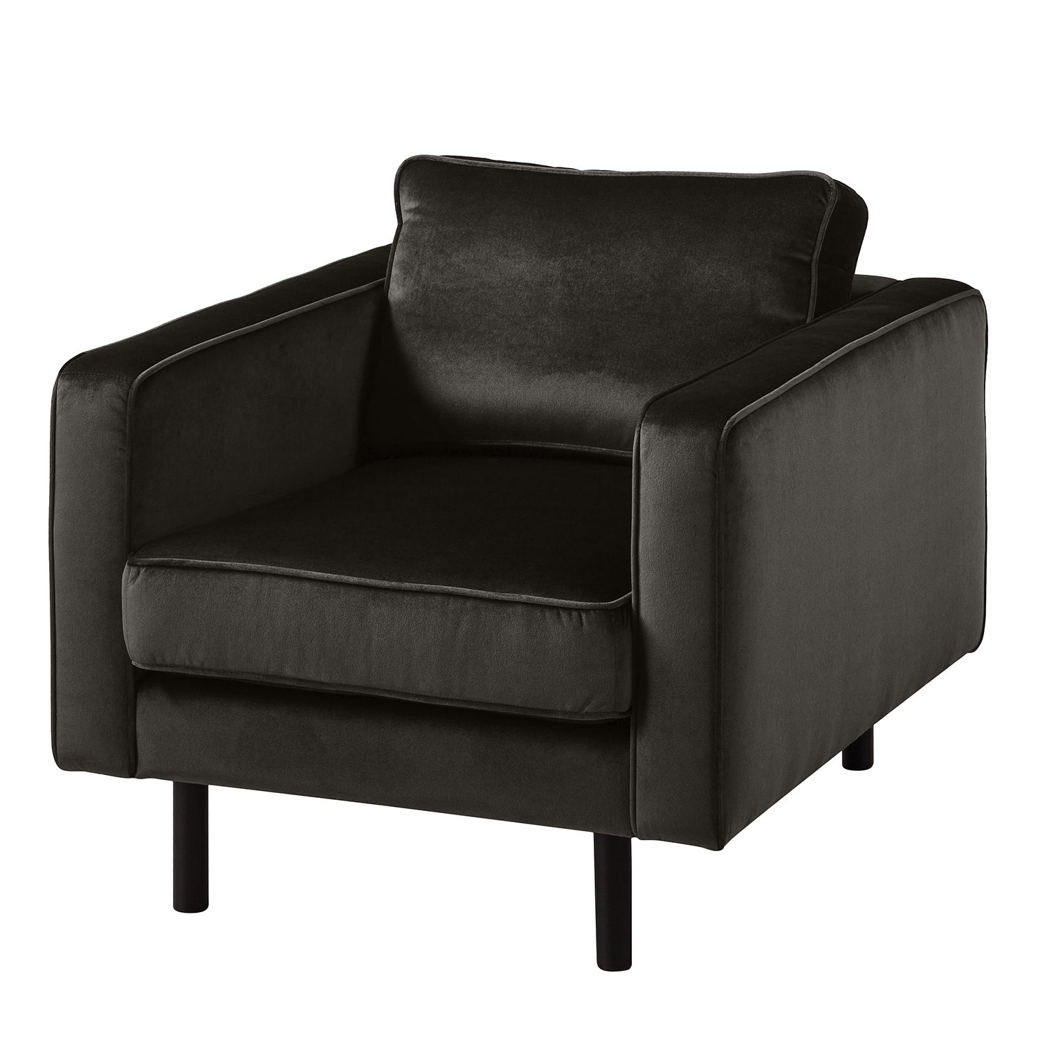 goedkoop Fauteuil Edina fluweel Bizonbruin Eva Padberg Collection