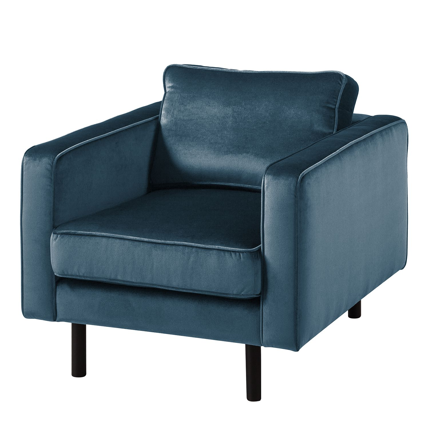 goedkoop Fauteuil Edina fluweel Donkerblauw Eva Padberg Collection