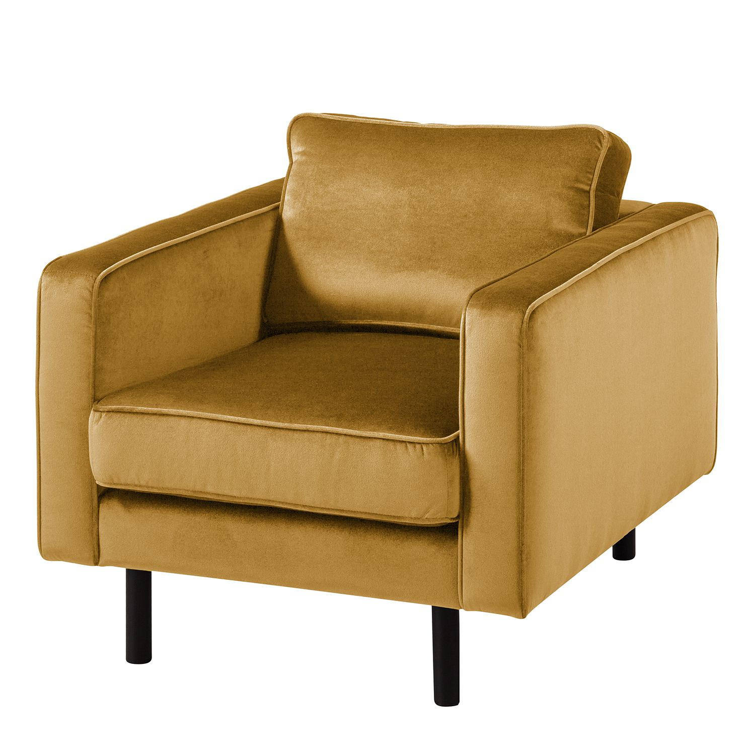 goedkoop Fauteuil Edina fluweel Honingkleurig Eva Padberg Collection
