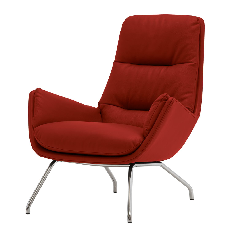 home24 Studio Copenhagen Sessel Garbo VIII Rot Echtleder 83x95x92 cm (BxHxT)