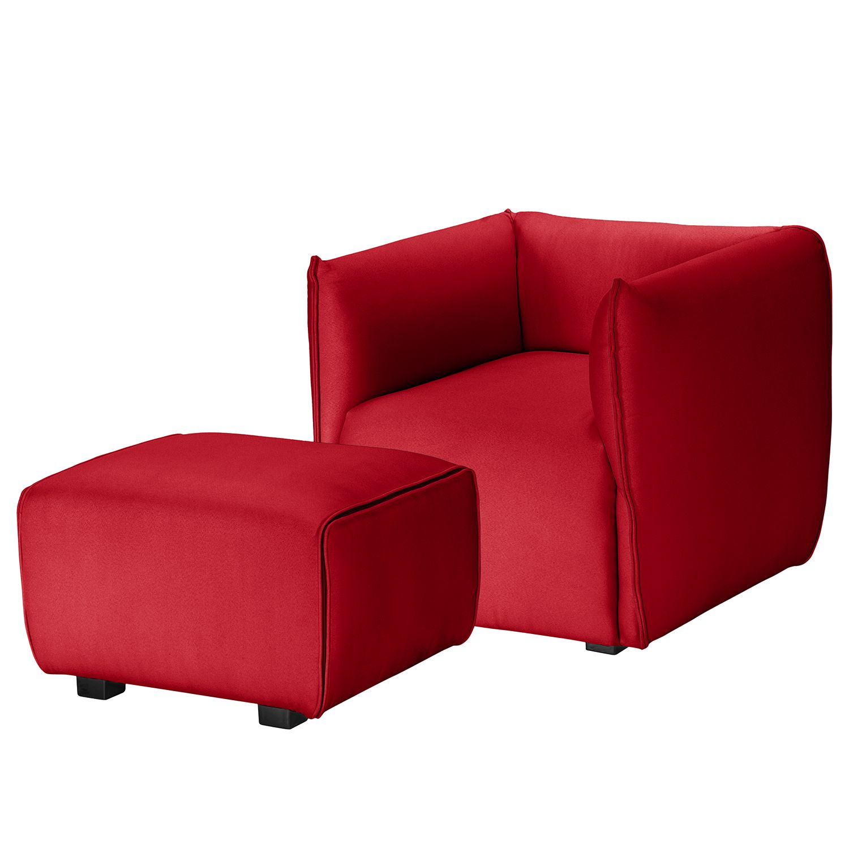 Fauteuil Grady I - Tissu - Avec repose-pieds - Rouge, Fredriks