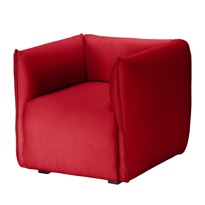 home24 Fredriks Sessel Grady I Rot Webstoff mit Hocker 84x70x78 cm (BxHxT)