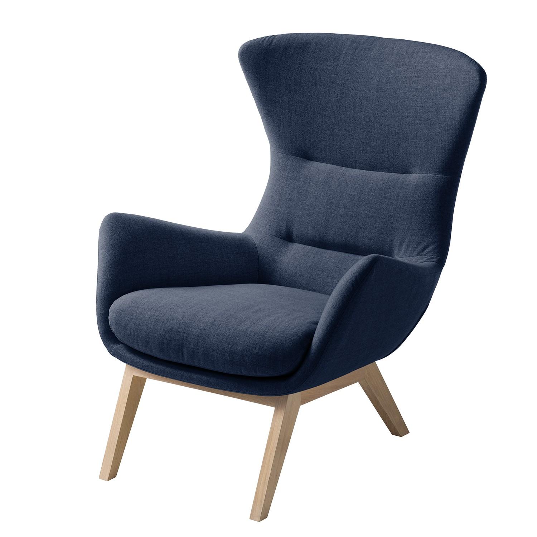 goedkoop Fauteuil Hepburn I geweven stof Lichte eikenhouten Stof Milan Donkerblauw Studio Copenhagen