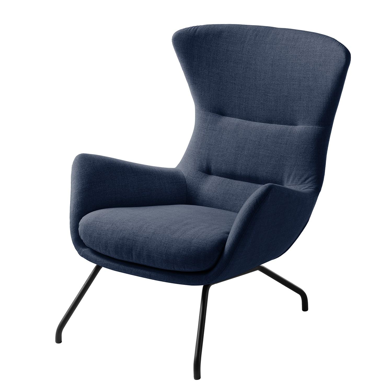 goedkoop Fauteuil Hepburn II geweven stof Zwart Stof Milan Donkerblauw Studio Copenhagen