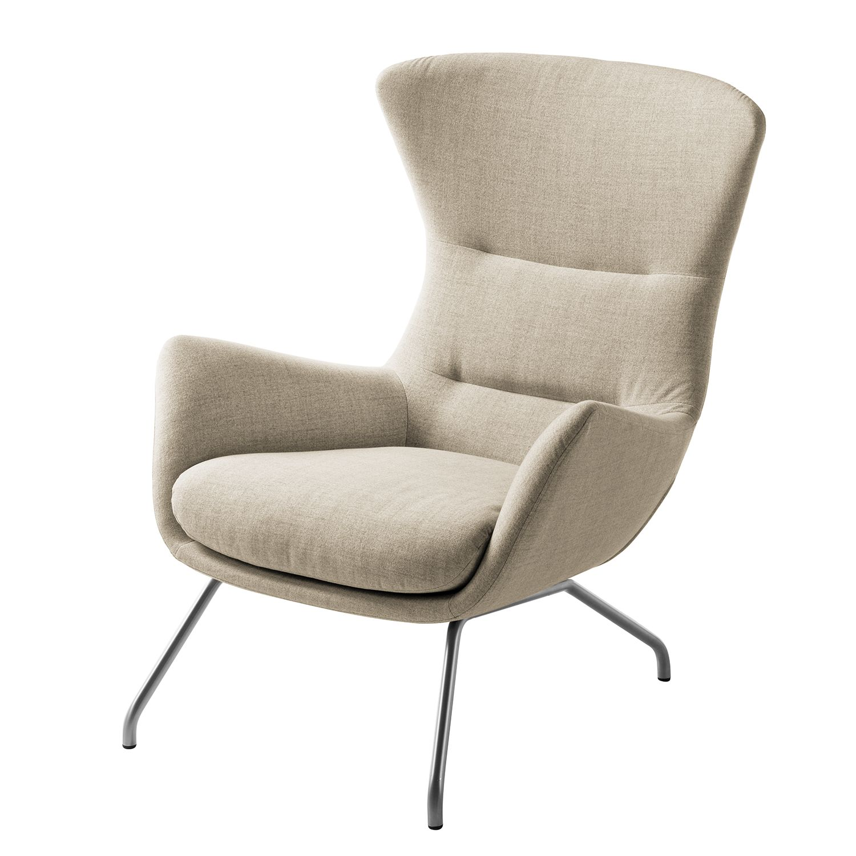 goedkoop Fauteuil Hepburn II geweven stof Chroomkleurig mat Stof Milan Beige Studio Copenhagen