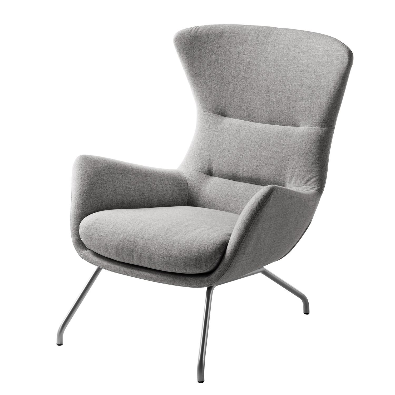 goedkoop Fauteuil Hepburn II geweven stof Chroomkleurig mat Stof Milan Lichtgrijs Studio Copenhagen