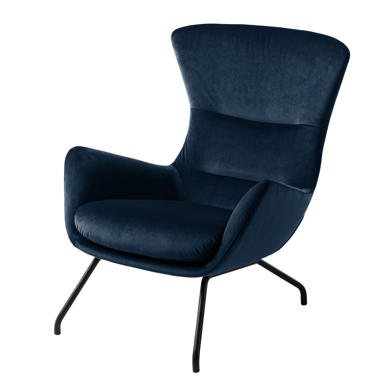 goedkoop Fauteuil Hepburn II fluweel Zwart Stof Shyla Donkerblauw Studio Copenhagen