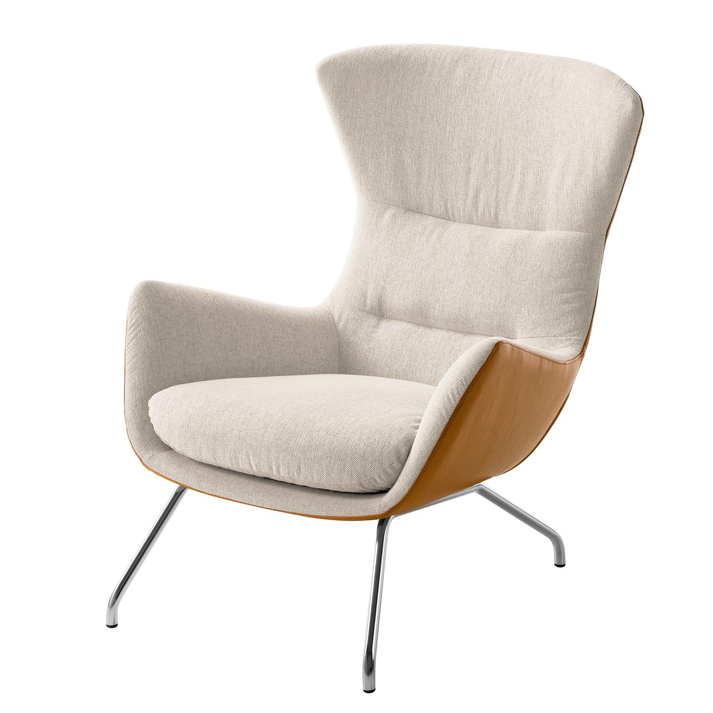 Sessel Hepburn II Webstoff / Echtleder - Chrom - Beige / Cognac