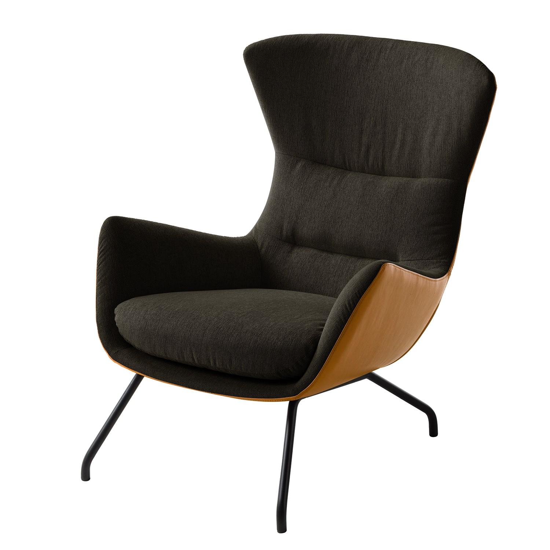 goedkoop Fauteuil Hepburn II geweven stof echt leer Zwart Zwartbruin Cognackleurig Studio Copenhagen