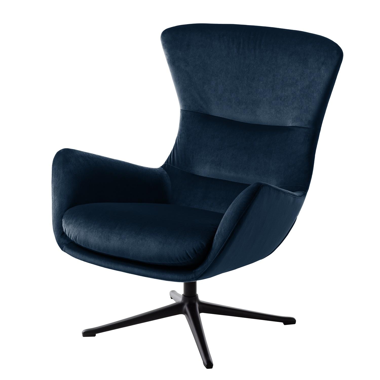 goedkoop Fauteuil Hepburn III fluweel Zwart Stof Shyla Donkerblauw Studio Copenhagen