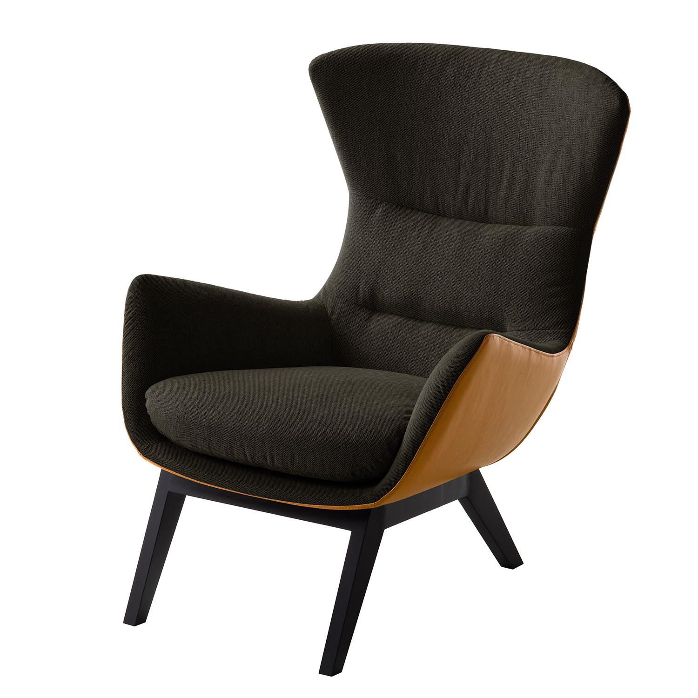 goedkoop Fauteuil Hepburn I geweven stof echt leer Zwart Zwartbruin Cognackleurig Studio Copenhagen