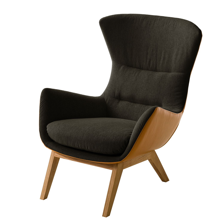 goedkoop Fauteuil Hepburn I geweven stof echt leer Eikenhout Zwartbruin Cognackleurig Studio Copenhagen