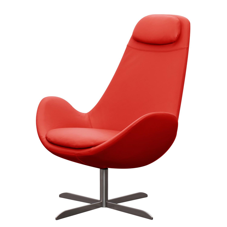 home24 Studio Copenhagen Sessel Houston I Rot Echtleder 89x110x89 cm (BxHxT)