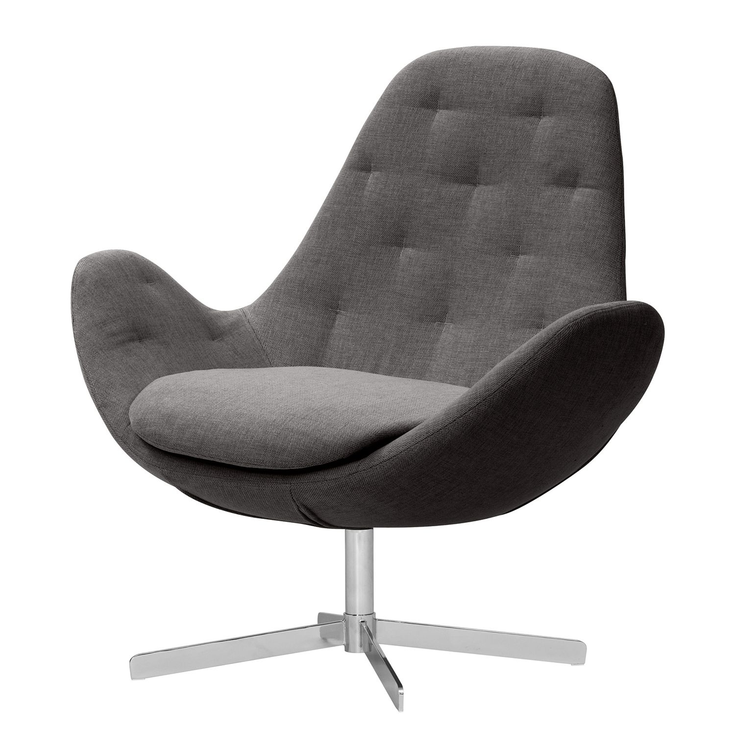 goedkoop Fauteuil Houston IV geweven stof Chroom Stof Anda II Antraciet Studio Copenhagen